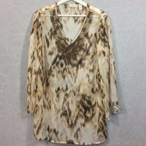 Chico's Beaded Scarf Print Tunic